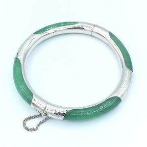 Jewelry - 🛍925 Sterling Silver Green Jade Bangle💖